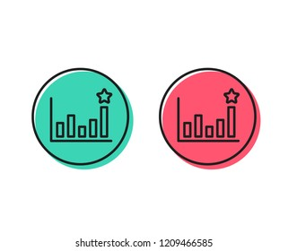 Efficacy line icon. Business chart sign. Analysis graph symbol. Positive and negative circle buttons concept. Good or bad symbols. Efficacy Vector
