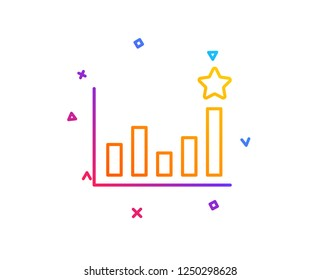 Efficacy line icon. Business chart sign. Analysis graph symbol. Gradient line button. Efficacy icon design. Colorful geometric shapes. Vector