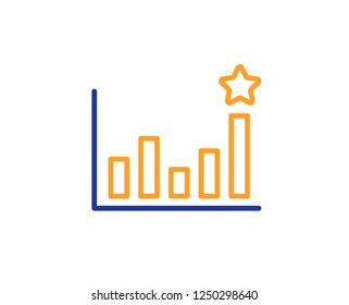 Efficacy line icon. Business chart sign. Analysis graph symbol. Colorful outline concept. Blue and orange thin line color icon. Efficacy Vector