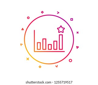 Efficacy line icon. Business chart sign. Analysis graph symbol. Gradient pattern line button. Efficacy icon design. Geometric shapes. Vector