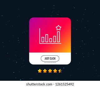 Efficacy line icon. Business chart sign. Analysis graph symbol. Web or internet line icon design. Rating stars. Just click button. Vector