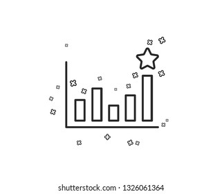Efficacy line icon. Business chart sign. Analysis graph symbol. Geometric shapes. Random cross elements. Linear Efficacy icon design. Vector