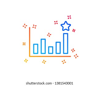 Efficacy line icon. Business chart sign. Analysis graph symbol. Gradient design elements. Linear efficacy icon. Random shapes. Vector