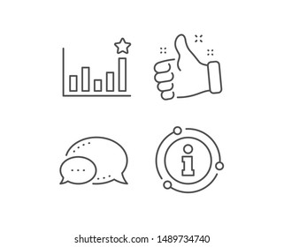 Efficacy line icon. Chat bubble, info sign elements. Business chart sign. Analysis graph symbol. Linear efficacy outline icon. Information bubble. Vector