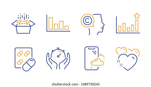 Efficacy, Smartphone cloud and Capsule pill line icons set. Histogram, Writer and Timer signs. Packing boxes, Heart symbols. Business chart, Phone backup. Business set. Line efficacy icon. Vector