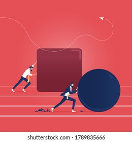 Efficiency in business, businessman pushing a sphere leading the race against another man pushing a cube stock
