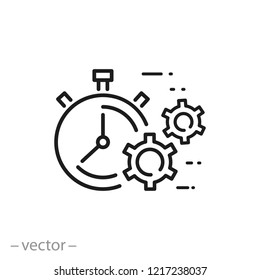 efficiency icon, production process linear sign on white background - editable vector illustration eps10
