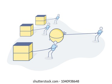 Efficiency, inovation and winning concept. Character outsmarting the other workers and leading the race without as much effort. Vector illustration in eps10