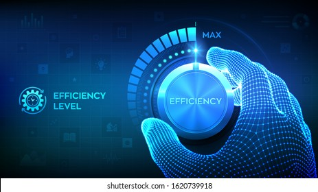Efficiency levels knob button. Increasing Efficiency Level. Wireframe hand turning a efficiency test knob to the maximum position. Development and growth business concept. Vector illustration.