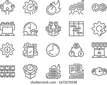 Efficiency line icon set. Included the icons as velocity, organizing, performance, productive, work, timeline  and more.