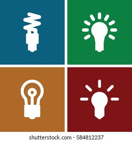 efficient icons set. Set of 4 efficient filled icons such as bulb, light bulb