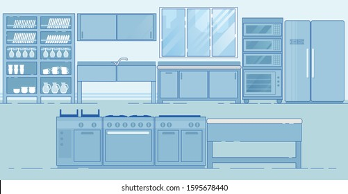 Efficient Restaurant Kitchen. Innovative Layout with Necessary Equipment for Food, Stuff and Staff. Storage, Food Preparation, Meal Cooking and Service Areas. Island Style Working Station.