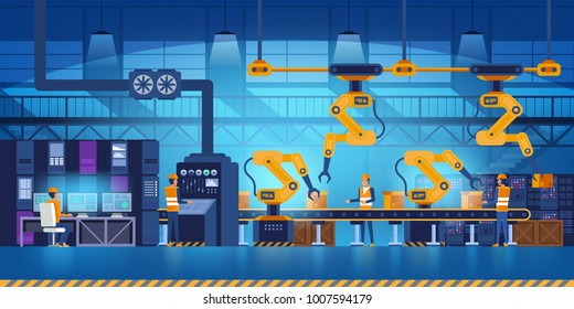 Efficient smart factory with workers, robots and assembly line, industry 4.0 and technology concept Vector illustration