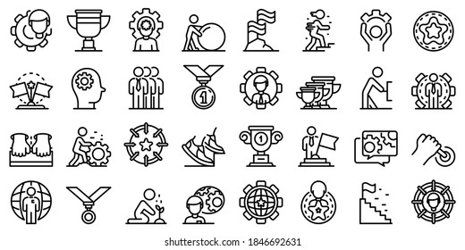 Effort icons set. Outline set of effort vector icons for web design isolated on white background