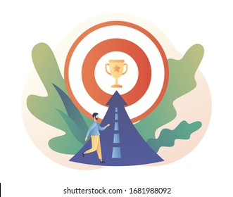 Efforts to achieve target. Perseverance, Challenge, Career and personal growth. Tiny people businessmen running towards the goal. Modern flat cartoon style. Vector illustration on white background
