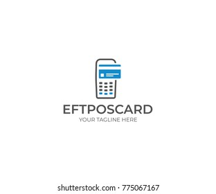 Eftpos Machine and Card Logo Template. Contactless Payment Vector Design. Paypass Illustration