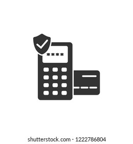 Eftpos secured terminal payment vector icon. Payment pdq terminal and shield icon. Credit and debit card safe payment icon.