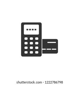 Eftpos terminal payment vector icon. Payment pdq terminal icon. Credit and debit card payment icon.