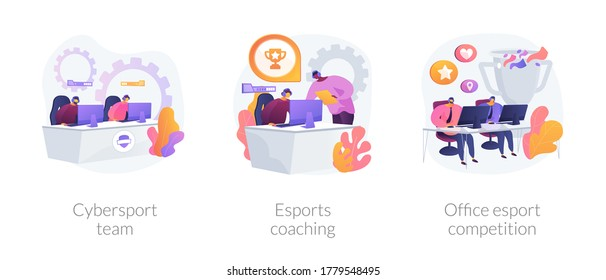 E-games tournament abstract concept vector illustration set. Cybersport team performance, esports coaching, office esport competition, computer club, battle arena, live streaming abstract metaphor.