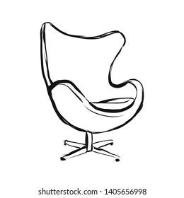 An egg armchair hand drawn sketch