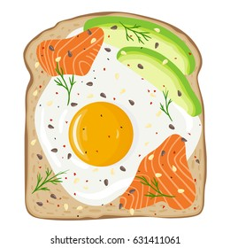 Egg, avocado and salmon toast. Delicious sandwich made of fresh toasted bread with fried egg, slices of avocado and smoked lox. Sesame seeds,seasoning and dill on top. Hand drawn vector illustration.