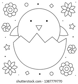 Egg with baby chick. Coloring page. Black and white vector illustration.