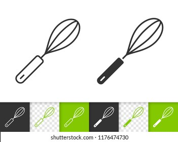 Egg Beater black linear and silhouette icons. Thin line sign of whisk. Hand Mixer outline pictogram isolated on white, color, transparent background. Vector Icon shape Egg Beater simple symbol closeup