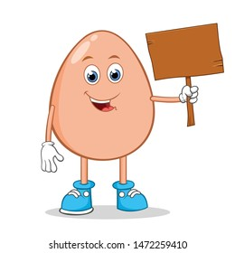Egg with Blank Wooden Sign in Hand Cartoon Mascot Character