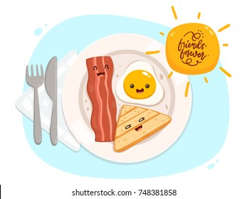 Egg, Bread, Bacon: Friends Forever. Breakfast Plate Cartoon Characters