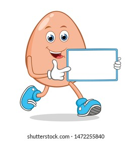 Egg Cartoon Mascot Character With Holding a White Blank Sign.