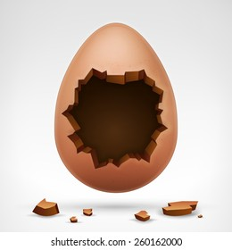 egg with cracked shell and hollow in middle vector illustration isolated on white