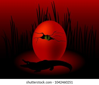 an egg with a crocodile eye and a grass on a dark red background