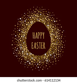 Egg dotted frame with inscription Happy Easter. Dots of various size. Vector abstract background.
