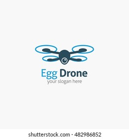 Egg Drone icon, logo and template. Flat Style. Vector Illustration
