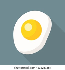 Egg flat icon  with long shadow isolated on grey background