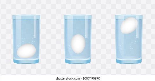 Egg floating test  in glass of water Science Experiments. High resolution