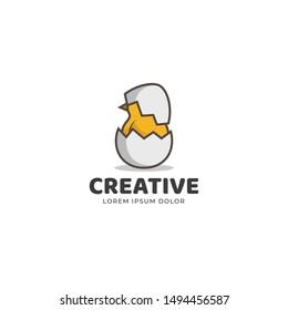 egg hatch logo design. omelet logo vector. chick logo vector