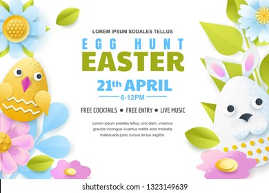 Egg hunt Easter poster, banner or flyer template. Vector layout. Holiday greeting card illustration. Paper cut colorful fun background.