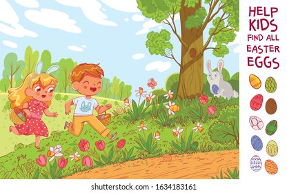 Egg hunt. Help the children find 10 hidden Easter eggs in the meadow. Puzzle Hidden Items. Funny cartoon character