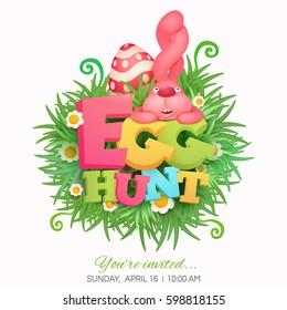 Egg hunt invitation card with pink bunny. Vector illustration