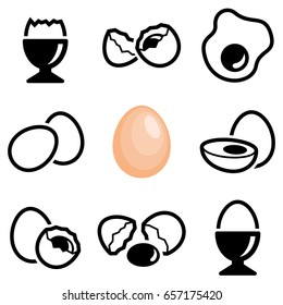 Egg icon collection - vector outline