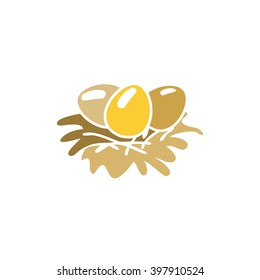 Egg in a nest. Easter. Christian symbol. Easter template.. Food. Symbol, icon, isolated pattern stationery. Vintage egg in a nest. Golden symbol of Easter. Golden modern bulk illustration