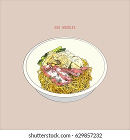 Egg Noodles With Red Pork. Thai street food , sketch vector.