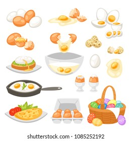 Egg vector easter food and healthy eggwhite or yolk in egg-cup or cooking omelette in frying pan for breakfast illustration set of eggshell or egg shaped ingredients isolated on white background