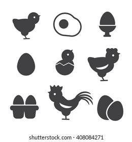 Egg vector icons. Egg food, breakfast egg, animal egg