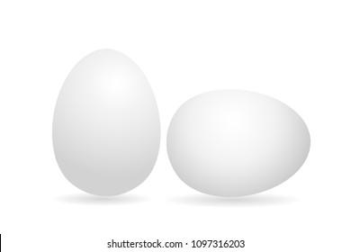 Egg. White 3D egg chicken. Isolated on white background. Vector illustration.