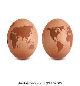 Egg with world map.vector