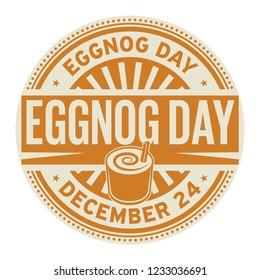 Eggnog Day, December 24, rubber stamp, vector Illustration