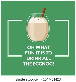 Eggnog Vector Quote Poster Illustration in Flat Style Design