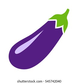 Eggplant, aubergine, melongene or brinjal flat vector color icon for apps and websites